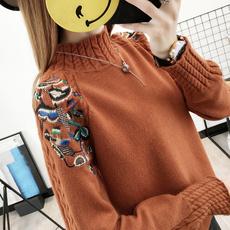 秋冬刺绣毛衣女厚款显瘦针织衫套头半高领学生麻花打底衫长袖潮