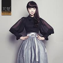 修身泡泡袖衬衫女2018春夏新款复古优雅气质灯笼袖上衣显瘦黑衬衣