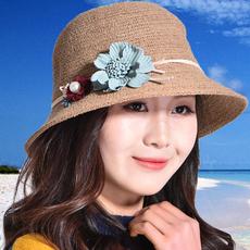 沙滩帽子女夏海边防晒遮阳花朵渔夫盆帽旅行百搭拍照珍珠纯手工帽