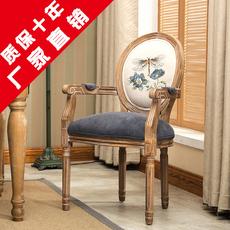 餐椅美式复古实木餐椅欧式咖啡厅甜品店餐厅做旧扶手靠背休闲椅子