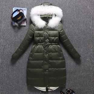 羽绒服女2018新款中长款韩版时尚真大毛领白鸭绒女士冬季洋气外套