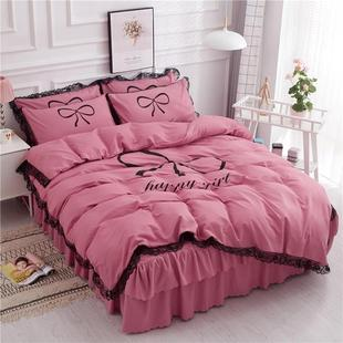 The four-piece bed cover is made of all-cotton princess styl