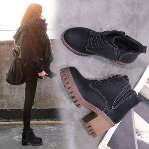 2017新款韩版百搭马丁靴女粗跟英伦风女鞋秋冬季棉鞋加绒高跟短靴女鞋