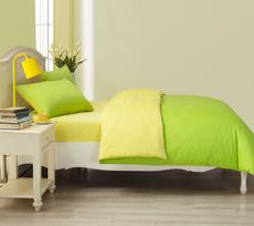 梦洁家纺 全棉床单床上用品四件套1.5 1.8m床纯色双拼夏季果绿色