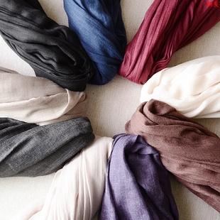 文艺素色棉麻围巾女士夏季季长款肌理装饰男薄款窄小夏天防晒丝巾