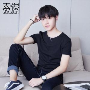 2件59夏季短袖T恤男士V领韩版修身纯棉体恤半袖衣服男打底衫潮流