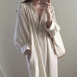 长款衬衣裙女韩国慵懒风中长款宽松棉麻衬衫过膝V领白色连衣裙潮