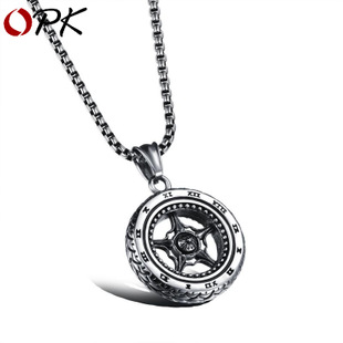 Aggressive Roman tire wheel men's pendant titanium steel
