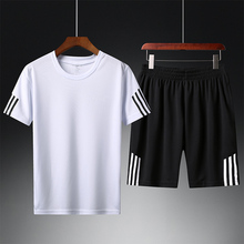 Two-piece Suit for Young Men Short-sleeved Sports and Leisure Home Short-sleeved Short-sleeved Short-pants Suit for Middle-aged and Old-aged Fathers