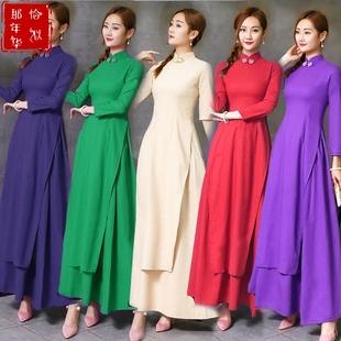 民族风复古中式棉麻旗袍连衣裙大码中长袖奥黛半身裙茶服两件套装