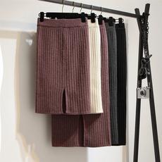 针织一步裙半身裙中长款2017新款秋冬季高腰后开叉毛线加厚包臀裙