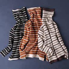 2017冬季新款毛衣高领条纹文艺复古上衣打底针织衫弹力长袖T恤女