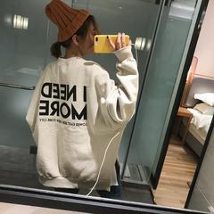 韩国东大门代购18冬新款帅气bf风简单字母宽松大码显瘦加绒卫衣女