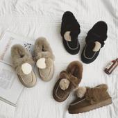 女冬季真皮防滑平底毛毛豆豆鞋 兔毛鞋 韩版 加棉雪地靴保暖加绒棉鞋