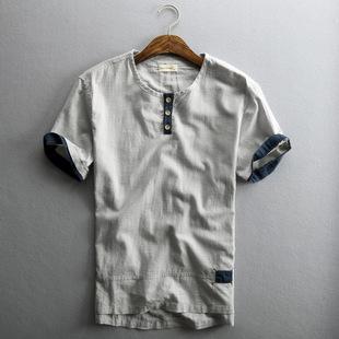 新款夏季男士休闲亚麻衬衫短袖薄款套头透气棉麻料复古中国风衬衣