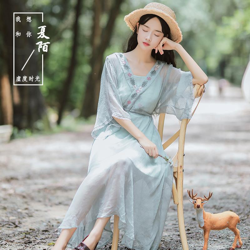 棠梨煎雪汉服仙女古风长裙女夏仙改良中国风襦裙交领连衣裙2018新图片
