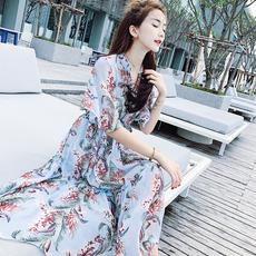 2017夏装新款韩版蓝碎花雪纺连衣裙V领喇叭袖气质A字裙子长裙女仙