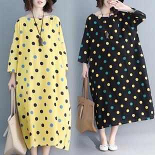 加肥大码女装气质显瘦裙子秋季新款棉麻彩色圆波点九分袖连衣裙潮