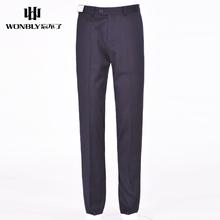 忘不了男装冬季时尚商务绅士正装西裤中年合身直筒厚款上班长裤子
