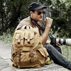 七色棉帆布摄影双肩背包单反相机复古休闲旅行多功能数码潮男包