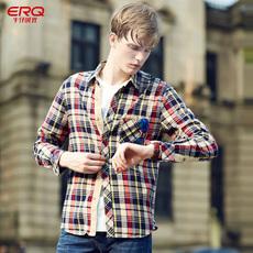 ERQ2017秋季情侣装格子衬衫男女长袖外穿寸衫青年文艺韩版衬衣潮