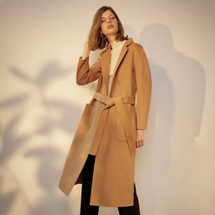 双面呢羊毛大衣2016秋冬正品手工高端驼色修身长款双面羊绒大衣女