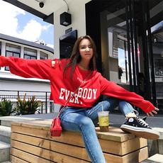 2017秋季韩版字母破洞露脐泡泡袖红色卫衣女短款宽松套头长袖上衣