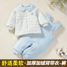 婴儿连体衣0-3个月6纯棉宝宝加厚加绒背带裤套装新生儿衣服秋冬季
