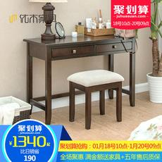 纯实木化妆桌红橡木1.1米实木梳妆台实木梳妆桌 美式简约卧室家具