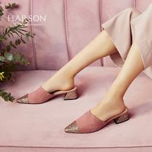 哈森2018夏季新款羊皮中跟女鞋 尖头粗跟凉拖鞋女夏外穿HM81412