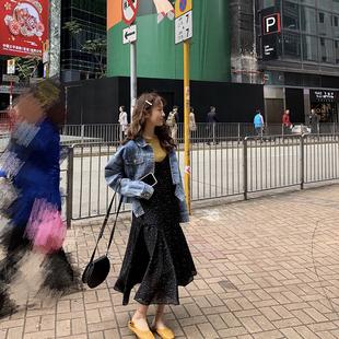 吊带裙女学生韩版百搭2019春夏新款外穿小清新高腰星星鱼尾连衣裙