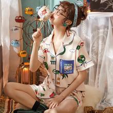 学生清新可爱薄款 可出门家居服两件套装 睡衣女夏季纯棉短袖 韩版