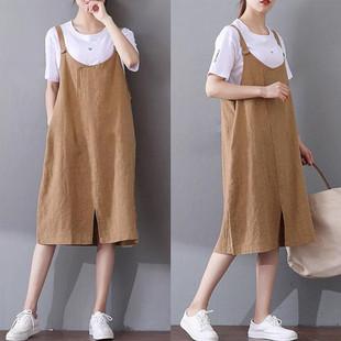 孕妇背带裙2018夏装新款怀孕期韩版中长款宽松开叉棉麻背心连衣裙
