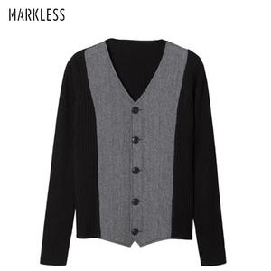 Markless秋冬季男装男士毛衣开衫V领针织衫男针织衫青年男装毛衣