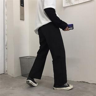 Mapogo 18韩国ulzzang修身显瘦长裤百搭黑色阔腿西裤学生潮男女款