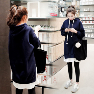 孕婦秋裝套裝時尚款韓版寬松大碼純棉孕婦衛衣外套中長款春秋上衣