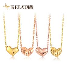 套链kx 珂兰18k彩金玫瑰金黄金项链锁骨链女款 金链子珠宝