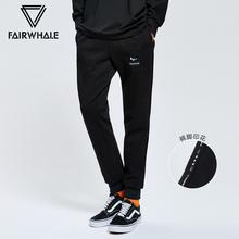 马克华菲针织裤男士2018秋冬新款舒适黑色口袋休闲长裤子