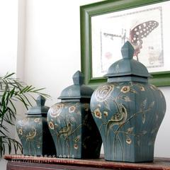 典雅中式陶瓷工艺品摆件/美式乡村混搭/手绘花鸟将军罐四方罐
