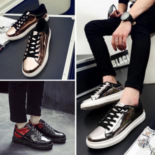 权志龙同款春季休闲时尚平板鞋亮面潮流发型师潮鞋韩版漆皮男鞋子