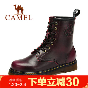 Camel/骆驼马丁靴男 冬季女靴潮流英伦高帮皮靴系带情侣款靴