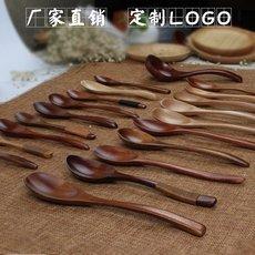 大小木勺子 日式长柄实木头质汤勺定制餐具手工蜂蜜勺刻字