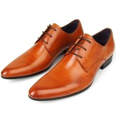 时尚潮鞋英伦风格扁头男鞋 棕黄色尖头系带男士高档真皮正装皮鞋