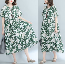 加肥加大码圆领树叶印花长裙夏季棉麻短袖中长款套头文艺连衣裙女