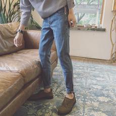 黑色牛仔裤男士韩版潮流2017修身小脚百搭直筒显瘦九分裤休闲裤子