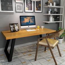 美式松木现代台式电脑桌实木双人简约书桌长条办公桌写字台工作台