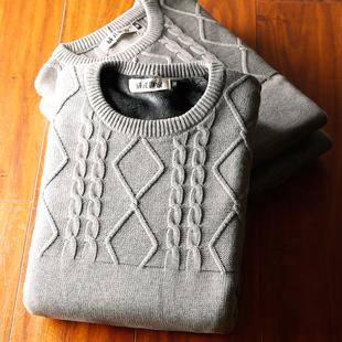 冬季男装韩版加厚加绒毛衣男士圆领学生套头打底针织衫男潮毛线衣