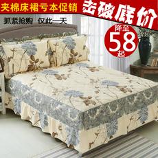 纯棉夹棉床裙单件床罩床套加棉韩式加厚床罩席梦思床套保护套包邮