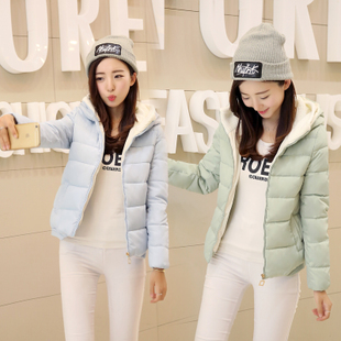 2016冬季新款羽绒服女短款连帽长袖修身加厚纯色学生休闲外套女装