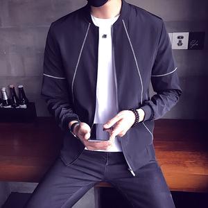 男装春装男士外套2017新款韩版休闲春季潮流夹克修身帅气棒球服上衣外套男